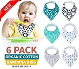 Baby Bandana Drool Bibs [100% Organic Cotton] Unisex 6-Pack Gift Set Bibs for Drooling and Teething - Soft and Absorbent - Hypoallergenic - For Boys and Girls [Made in India]