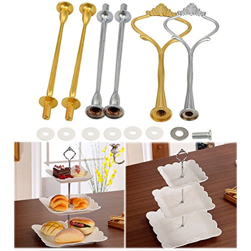 LLJEkieee Crown 3 Tier Cake Cupcake Plate Stand Handle Stainless Steel Fitting Holder (Gold)