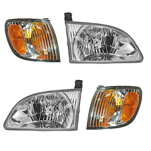 (Headlight Corner Light Lamp LH RH Left Right Kit Set of 4 for 01-03 Sienna)