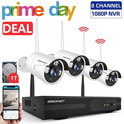 【2019 New】 Wireless Security Camera System,SMONET 1080P 8 Channel Video Security System(1TB Hard Drive),4pcs 960P(1.3 Megapixel) Indoor/Outdoor Wireless IP Cameras,65ft Night Vision,P2P,Free APP