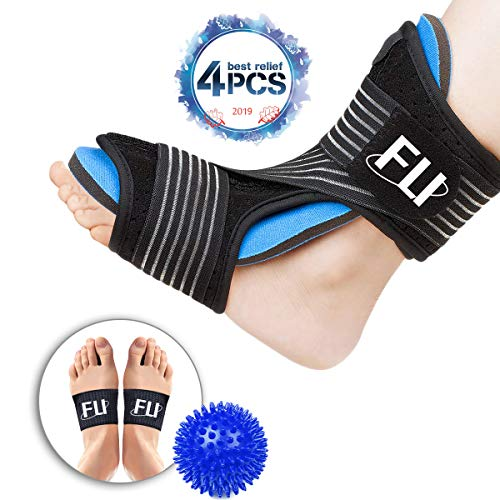 (Plantar Fasciitis Night Splint for Effective Relief from Plantar Fasciitis Pain, Heel Spur, Arch Foot Pain, Foot Drop Orthotic Brace for Sleep Support with Hard Spiky Massage Ball & Arch Support Brace)