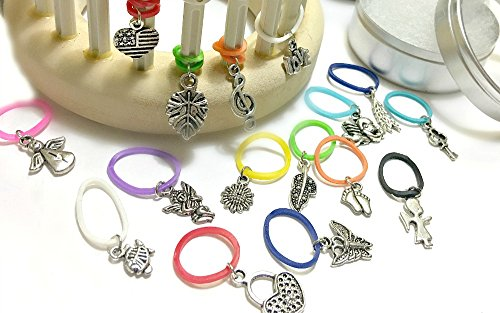 15 Snag Free Snug Fit Random Charms Stitch Markers for Knitting (Charm Knitting Markers)