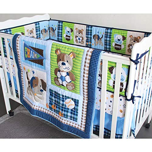 7Pcs Infant Baby Bedding Set Crib Cot Comforter Side Bumpers Bedskirt Nurse