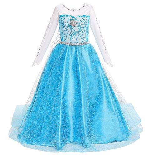Princess Elsa Dress Birthday Party Halloween Costume for Little Girls 2T 3T(100cm) Blue