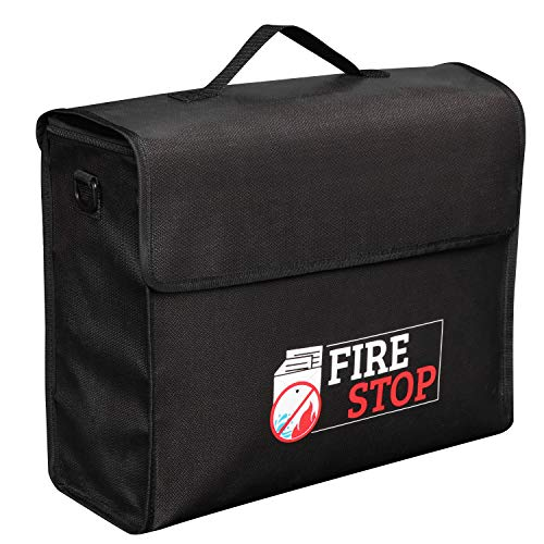 """Extra Large (15""""x 12""""x 5"""") FireStop Fireproof Money & Document Bag with Zipper Lock, Portable Fire & Water Resistant Non-Itchy Folder Safe Storage Pouch for Cash, Files, Passport, Jewelry & Valuables"""