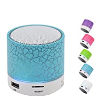 Portable Wireless Bluetooth Speaker,Hica Mini Wireless Hands Free Crackle Bluetooth Speaker Support Music FM Radio TF Card USB Flash Drive Built-in Microphone with LED lights for Phone,MP3,Blue