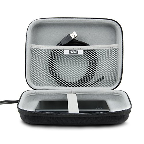 """Hard Shell Electronic Organizer Travel Case 7.5"""" Inch with Weather-Resistant Exterior and Large Mesh Accessory Pocket by USA Gear - Holds Cables , Chargers , GPS , Hard Drives and More Electronics"""