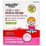 Equate Children Pain Reliever & Fever Reducer, Bubblegum, 24 Chewable Tablets