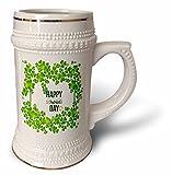 3dRose Uta Naumann Sayings and Typography - Ireland Holiday Motivational and Clover Frame - Happy St Patricks Day - 22oz Stein Mug (stn_275295_1)