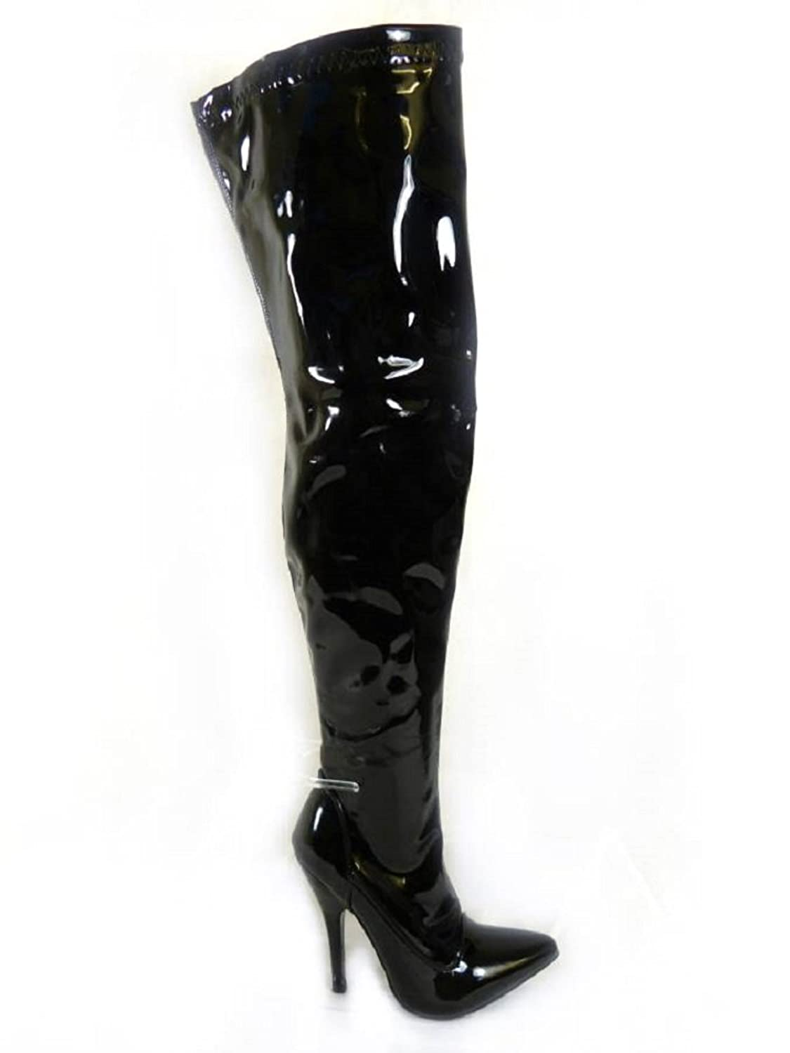 Mens Thigh High PVC High Heel Boots size 9-13 UK (13): Amazon.co ...