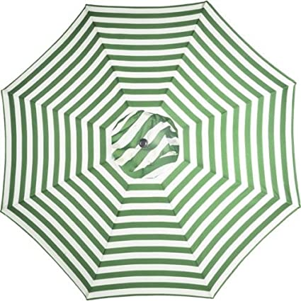 Green And White Striped 9u0027 Foot Outdoor Round Steel Patio