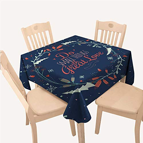 (WilliamsDecor Quote Holiday Tablecloth Romantic Floral Wreath with Laurel Leaves Loving Wishes Calligraphy VintageNavy Mint Green Red Square Tablecloth W60 xL60 inch)