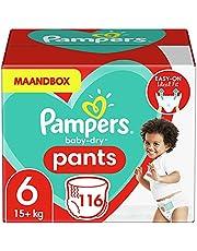 Pampers Maat 6 Baby-Dry Luierbroekjes, 116 Stuks, MAANDBOX, Eenvoudig en Leuk Verschonen Overdag en Bescherming 's Nachts (15+ kg)