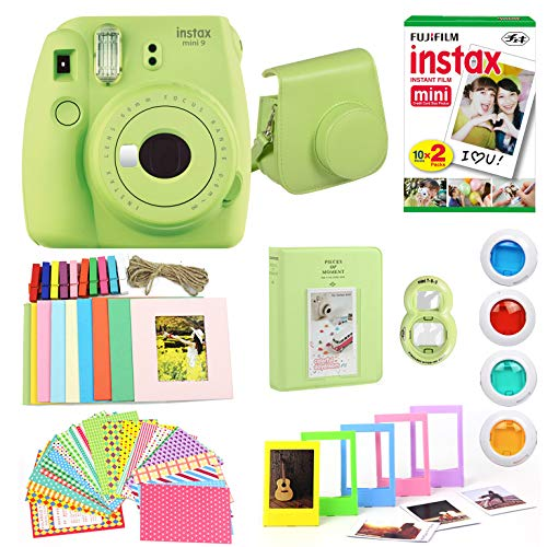 Fujifilm Instax Mini 9 Instant Print Camera (Certified Refurbished) Super Bundle with New Camera Case & Accessories | Photo Album, Photo Stickers, 10 Mini Frames, Close Up Lens & More (Lime Green)