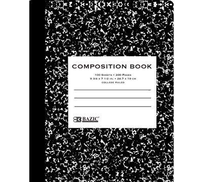 BAZIC C/R 100 Ct. Black Marble Composition Book, Case Pack 48
