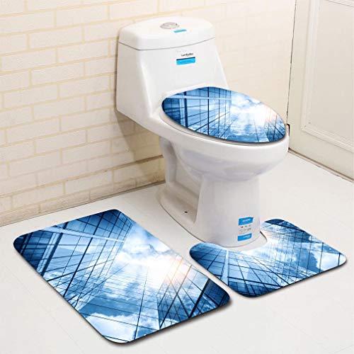 MTSJTliangwan 3-Piece Bathroom Set, Bathroom Rug + Contour pad + lid Toilet seat, View of a Contemporary Glass Skyscraper Reflecting The Blue Sky Comfortable Flannel Rug ()