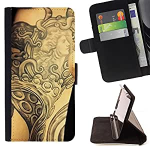 DEVIL CASE - FOR Sony Xperia Z1 L39 - Tattoo Ink Body Art Goddess Ancient Arm - Style PU Leather Case Wallet Flip Stand Flap Closure Cover