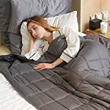 """Fabula Life 15lbs Weighted Blanket for Adults, Premium Cotton Heavy Blanket with Glass Beads for Calm Deep Sleep, Queen Size (80""""x60"""", 15 lb)"""