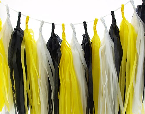 Bumblebee Garland, Black & Yellow Honey Bee Party Tassels (Set of 15) - Bumble Bee Party Supplies, Bees Tissue Paper Tassel, Bee Party Decorations Banner Backdrop