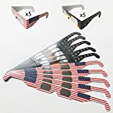 Solar Eclipse Glasses CE and ISO Certified, Safe Solar Viewing, Viewer and Filter, Eye Protection (10pack (Flag Two and Theme))