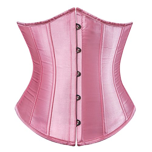 Zhitunemi Women's Satin Underbust Corset Bustier Waist Training Cincher Plus Size X-Large Pink