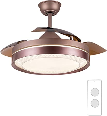 YX Ceiling Fans Lámpara de techo LED regulable con luz de ventilador de techo con aspas invisibles retráctiles y control remoto, motor silencioso, para sala de estar, dormitorio, restaurante, 42 pul: Amazon.es: