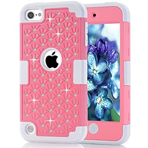iPod Touch 5 Case,iPod Touch 6 Case, ZMKH Rhinestone Bling Frame Hybrid Armor Dual Layer Hard PC & Soft Silicone Protective Skin for Apple iPod Touch 5 / iPod Touch 6(Pink / (One Direction Ipod 5 Custom Case)