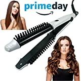 MONOJOY 3 in 1 Hot Brush & Hair Curler & Hair Straightener, Hot Rollers Curling Iron Wand Hair Flat Iron 1.25 Inch Tourmaline Ceramic Plates Instant Heat -360°Swivel Cord Dual Voltage Auto Shut Off
