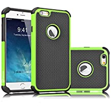 iPhone 6S Case, Tekcoo(TM) [Tmajor Series] iPhone 6 / 6S (4.7 INCH) Case Shock Absorbing Hybrid Best Impact Defender Rugged Slim Cover Shell w/ Plastic Outer & Rubber Silicone Inner [Green/Black]