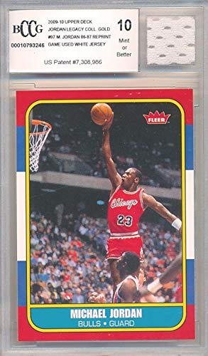 - 1986 Fleer Michael Jordan Rookie Replica with Piece of Authentic Michael Jordan Chicago Bulls GAME USED JERSEY BECKETT 10 MINT GGUM Card! WOWZZER!