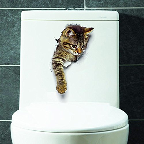 Toilet Cat Sticker - 3d Cat Stickers - 3D Cute Cat Wall Stickers Toliet Stickers Decorations Animal Wall Stickers Decorate Your Home Like A Makeup Artist - 1 (Cute Cat Vinyl Stickers) (Unknown Cat Artist)