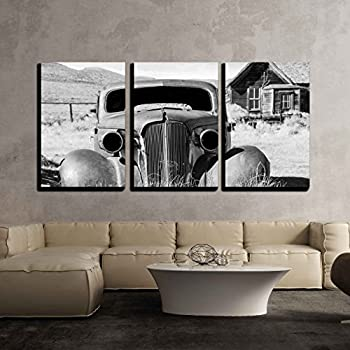 wall26 - 3 Piece Canvas Wall Art - Old Abandoned Car in Black and White Has Seen Better Days - Modern Home Decor Stretched and Framed Ready to Hang - 16
