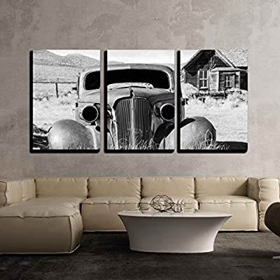 Rural Abandoned Car - 3 Panel Canvas Art
