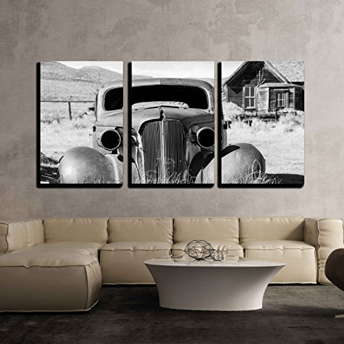 Old Abandoned Car in Black and White Has Seen Better Days x3 Panels