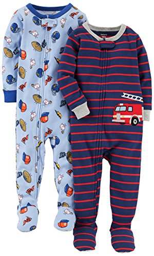 Carter's Baby Boys' 2-Pack Cotton Footed Pajamas, Sports/Fire Truck, 18 Months
