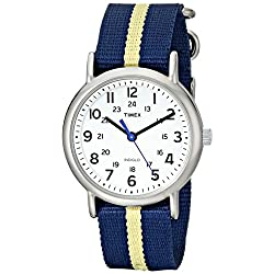 Timex Unisex T2P1429J Weekender Silver-Tone Watch with Blue and Yellow Nylon Band