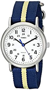 Timex Weekender T2P142 Blue/Yellow Stripe Nylon Slip-Thru Strap Watch