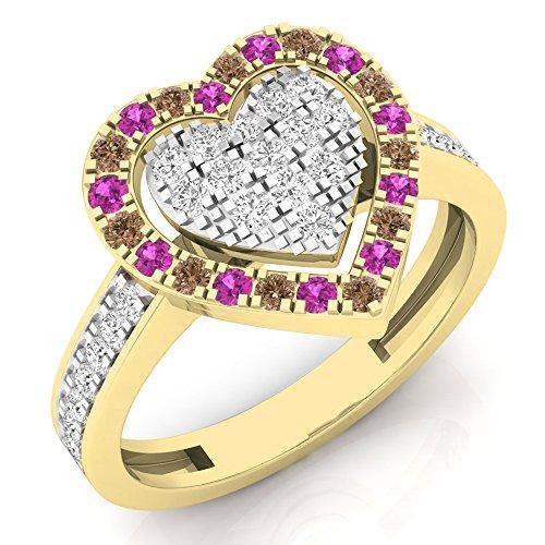 Pink Champagne Diamonds (14K Yellow Gold White & Champagne Diamond & Pink Sapphire Ladies Heart Bridal Engagement Ring (Size 10))