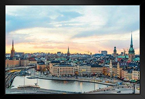 - Old Town Stockholm Sweden Golden Afternoon Photo Art Print Framed Poster 20x14 inch