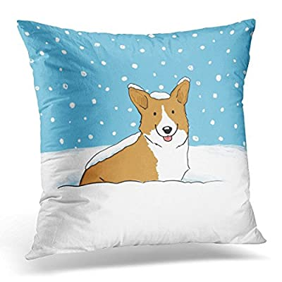 Jbralid Pets Winter Snow Corgi Happy Dog Animals Pillow Cover Hidden Zipper Cotton Indoor Throw Pillow Case Cushion 18x18 in