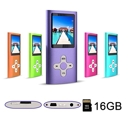 RHDTShop MP3 MP4 Player with a 16 GB Micro SD Card, Support UP to 64GB TF Card, Rechargeable Battery, Portable Digital Music Player/Video/E-Book Reader, Purple