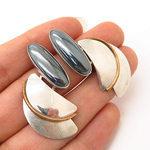 925 Sterling Silver 2-Tone Vintage Hematite Gem Modernist Design Earrings ()