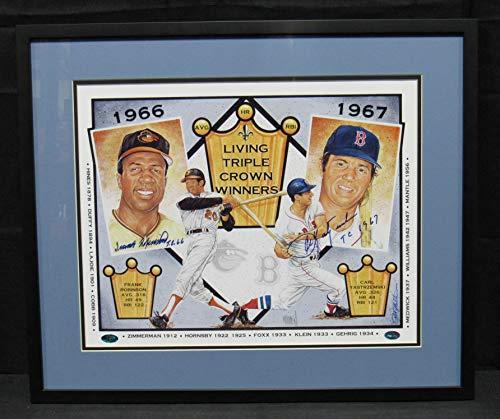 - Carl Yastrzemski Frank Robinson Signed Framed 16x20 Triple Crown Lithograph Photo JSA CC59271