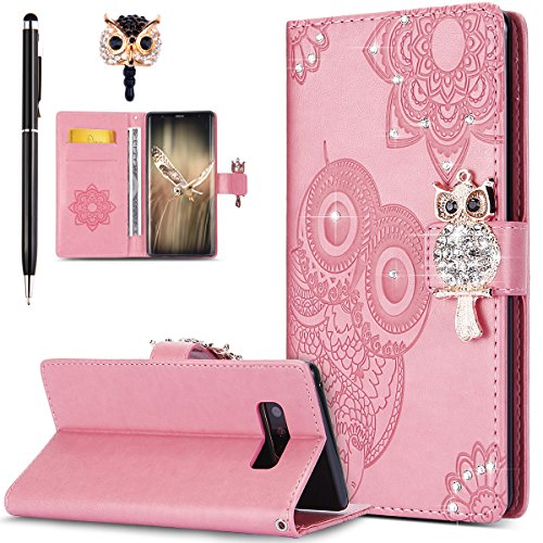 Galaxy Note 8 Case,Galaxy Note 8 Cover,ikasus Bling Diamonds Glitter Embossing Mandala Owl PU Leather Fold Wallet Flip Stand Protective Case Cover + Dust Plug & Stylus for Samsung Galaxy Note 8,Pink