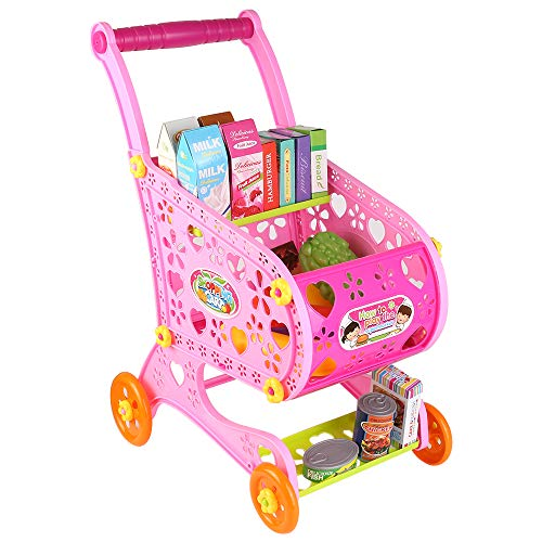 Toddler & Kids Deluxe Pretend Play Supermarket Shopping Cart with Groceries, Educational Toy Shopping Trolley Playset for Kids - Trolley Deluxe