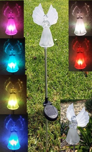 Color Changing LED Angel with Fiber Optic Yard Stick