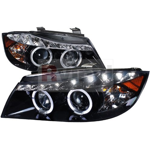 Spec-D Tuning 2LHP-E9005G-8-TM BMW E90 3-Series 4Dr R8 Led Strip Drl Projector Headlights Glossy Black