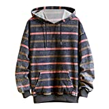 Uqiangy Mens Casual Loose Autumn Youth Style Striped Hoodies Pullover Sweatshirt Outwear Coat(Pink,XXXXL)