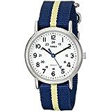 Timex Unisex T2P142 Weekender Blue/Yellow Stripe Nylon Slip-Thru Strap Watch