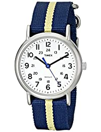 "Timex Unisex T2P1429J""Weekender"" Watch with Navy and Yellow Nylon Band"